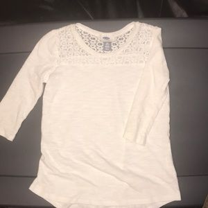 Girls Old Navy White Top Size Small 6-7